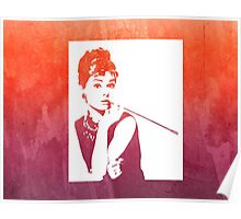 Audrey Hepburn Breakfast at Tiffany's Watercolour Red  Poster