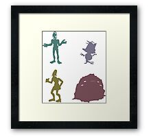Natives - Oddworld Coloured Silhouettes Framed Print