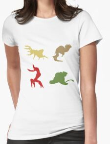 Wildlife - Oddworld Coloured Silhouettes Womens Fitted T-Shirt