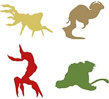 Wildlife - Oddworld Coloured Silhouettes Photographic Print