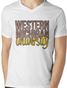 Western Michigan University TwoTone Mens V-Neck T-Shirt