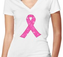 Pink Ribbon Glitter Look Women's Fitted V-Neck T-Shirt