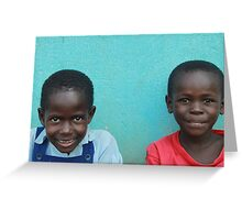 Young Couple Sitting at School - Buyantetee, Uganda Greeting Card