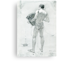 figure with accordion Canvas Print