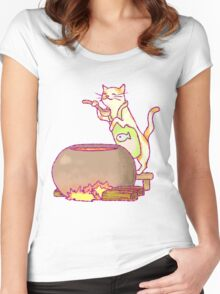 Cat Cooking Women's Fitted Scoop T-Shirt