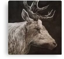 B+W Deer Portrait Canvas Print