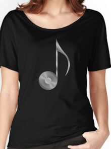Vinyl Record Musical Eighth Note - Metallic - Steel Women's Relaxed Fit T-Shirt