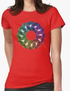 Ring of Vinyl LP Records - Metallic - Rainbow Womens Fitted T-Shirt