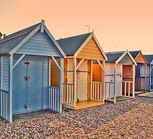 Beach Huts at Sunset by ElsieBell
