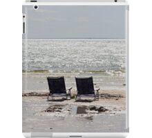 Two beach chairs on a sand bar iPad Case/Skin