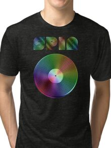 Spin - Vinyl LP Record & Text - Metallic - Rainbow Tri-blend T-Shirt