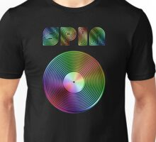 Spin - Vinyl LP Record & Text - Metallic - Rainbow Unisex T-Shirt