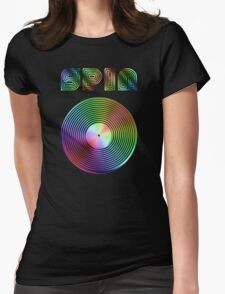 Spin - Vinyl LP Record & Text - Metallic - Rainbow Womens Fitted T-Shirt