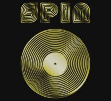 Spin - Vinyl LP Record & Text - Metallic - Gold by graphix