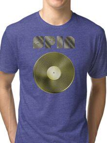 Spin - Vinyl LP Record & Text - Metallic - Gold Tri-blend T-Shirt