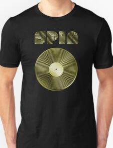 Spin - Vinyl LP Record & Text - Metallic - Gold Unisex T-Shirt
