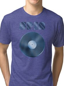 Spin - Vinyl LP Record & Text - Metallic - Blue Tri-blend T-Shirt