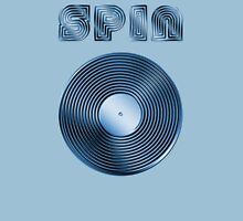 Spin - Vinyl LP Record & Text - Metallic - Blue Unisex T-Shirt