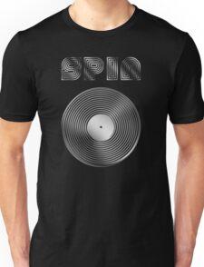 Spin - Vinyl LP Record & Text - Metallic - Steel Unisex T-Shirt