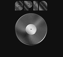 Spin - Vinyl LP Record & Text - Metallic - Steel Unisex T-Shirt