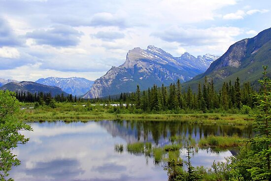 Mt.  Rundle As Seen From  Vermillion Lakes by Vickie Emms
