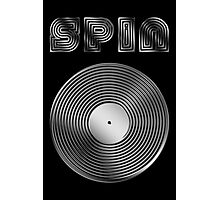 Spin - Vinyl LP Record & Text - Metallic - Steel Photographic Print