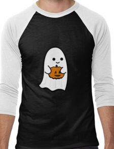 Cute Ghost's Jack o' Lantern Men's Baseball ¾ T-Shirt