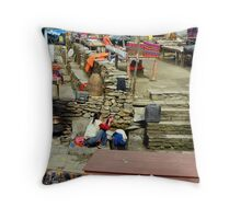 Village Scene Throw Pillow
