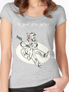 BioShock – All Good Girls Gather Poster (White) Women's Fitted Scoop T-Shirt