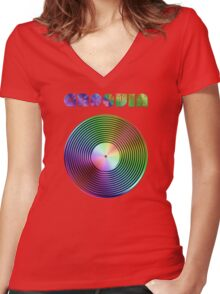 Groovin - Vinyl LP Record & Text - Metallic - Rainbow Women's Fitted V-Neck T-Shirt