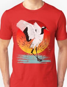 Red Crowned Crane and Setting Sun T-Shirt