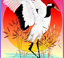 Red Crowned Crane and Setting Sun by Lotacats
