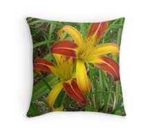 Orange Spiders Throw Pillow