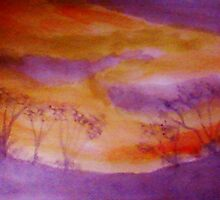 Sunset over some shrubs, watercolor by Anna  Lewis