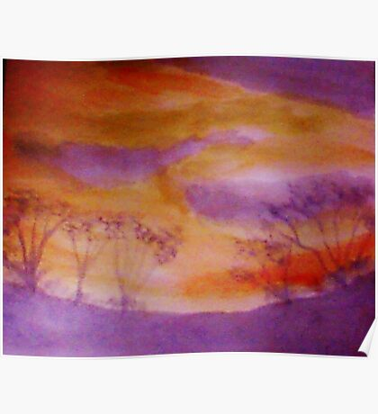 Sunset over some shrubs, watercolor Poster
