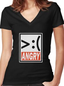Mongo Angry Women's Fitted V-Neck T-Shirt