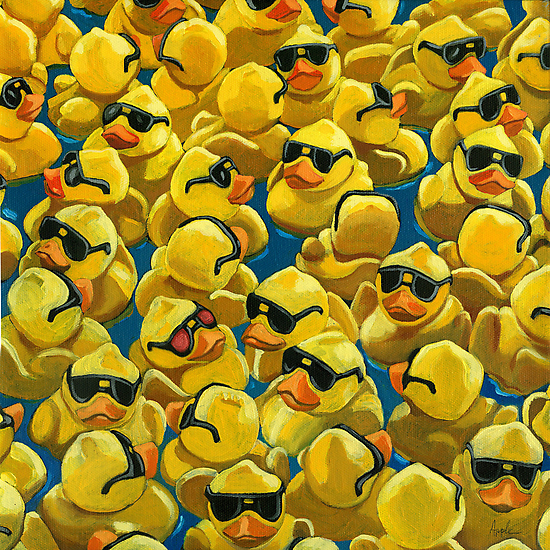 Rose Colored Glasses - rubber Ducks oil painting by LindaAppleArt