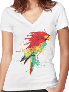 Splash The Parrot.. Women's Fitted V-Neck T-Shirt