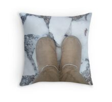 Shoes On Snow Throw Pillow