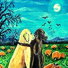 Dogs In Pumpkin Patch by gretzky