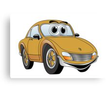 Brown Sports Car Cartoon Canvas Print