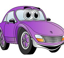 Purple Sports Car Cartoon by Graphxpro