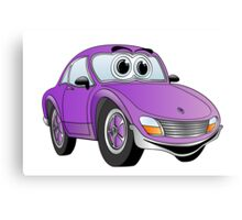 Purple Sports Car Cartoon Canvas Print
