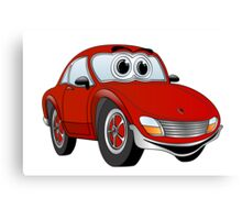 Red Sports Car Cartoon Canvas Print