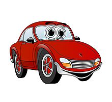 Red Sports Car Cartoon Photographic Print