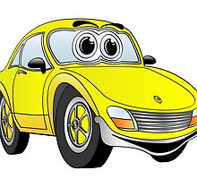 Yellow Sports Car Cartoon by Graphxpro