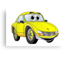 Yellow Sports Car Cartoon Canvas Print