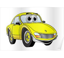 Yellow Sports Car Cartoon Poster