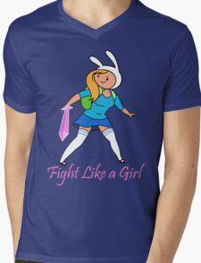Fight Like a Girl Adventure Time Mens V-Neck T-Shirt