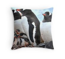Gentoo penguins with babies Throw Pillow